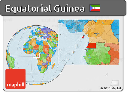 Free Political Location Map of Equatorial Guinea