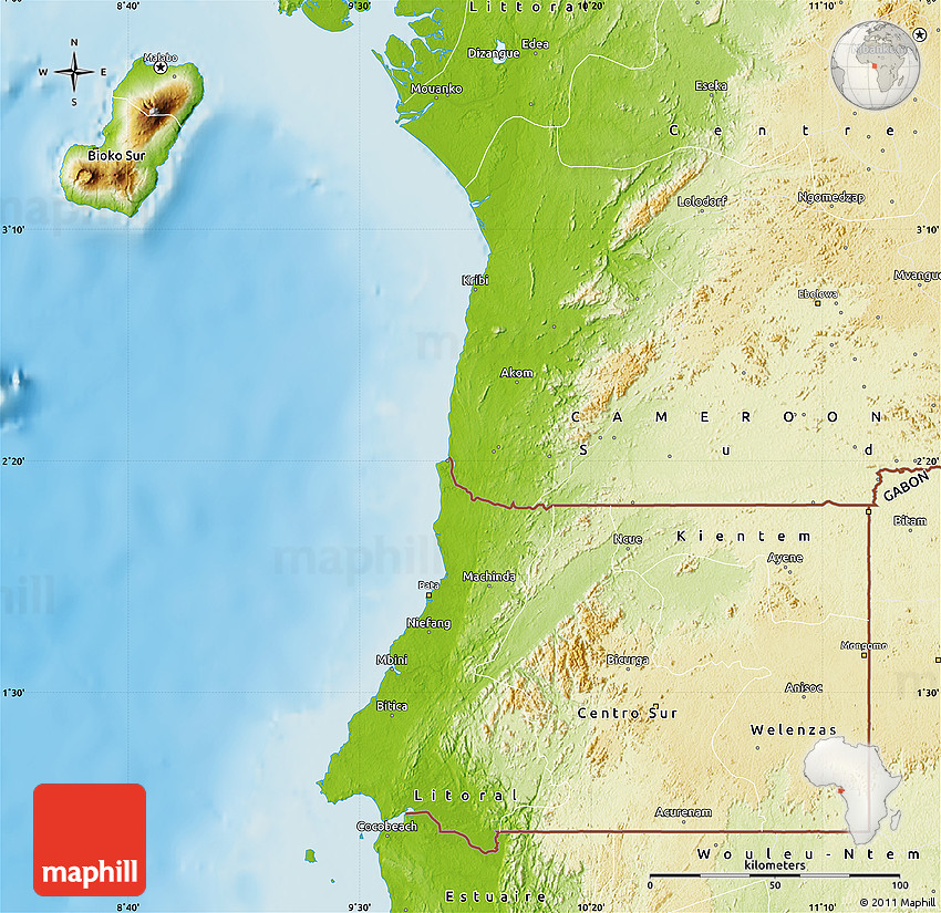 Physical map of equatorial guinea publicscrutiny Image collections