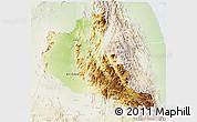 Physical 3D Map of Anseba, lighten