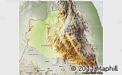 Physical 3D Map of Anseba, semi-desaturated