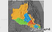 Political 3D Map of Anseba, darken, desaturated