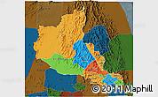 Political 3D Map of Anseba, darken