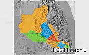 Political 3D Map of Anseba, desaturated