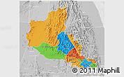 Political 3D Map of Anseba, lighten, desaturated