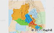 Political 3D Map of Anseba, lighten