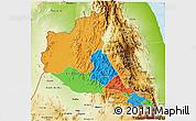 Political 3D Map of Anseba, physical outside