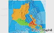 Political 3D Map of Anseba, political shades outside