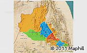 Political 3D Map of Anseba, satellite outside