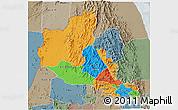 Political 3D Map of Anseba, semi-desaturated
