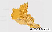 Political Shades 3D Map of Anseba, cropped outside
