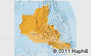 Political Shades 3D Map of Anseba, lighten