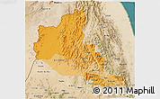 Political Shades 3D Map of Anseba, satellite outside