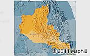 Political Shades 3D Map of Anseba, semi-desaturated