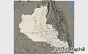 Shaded Relief 3D Map of Anseba, darken