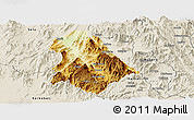 Physical Panoramic Map of Asmat, shaded relief outside