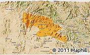 Political 3D Map of Hagaz, satellite outside