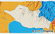 Shaded Relief 3D Map of Kerkebet, political outside