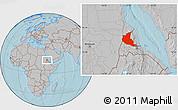 Gray Location Map of Anseba, hill shading