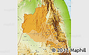 Political Shades Map of Anseba, physical outside