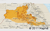 Political Shades Panoramic Map of Anseba, shaded relief outside