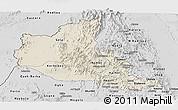 Shaded Relief Panoramic Map of Anseba, desaturated