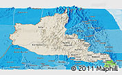 Shaded Relief Panoramic Map of Anseba, political shades outside