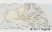 Shaded Relief Panoramic Map of Anseba, semi-desaturated