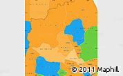 Political Shades Simple Map of Anseba, political outside