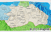 Shaded Relief 3D Map of Debub, political shades outside