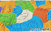 Shaded Relief 3D Map of Adi Quala, political outside