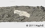 Shaded Relief Panoramic Map of Mendefera, darken