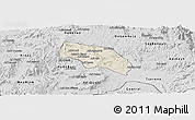 Shaded Relief Panoramic Map of Mendefera, desaturated