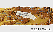 Shaded Relief Panoramic Map of Mendefera, physical outside