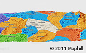 Shaded Relief Panoramic Map of Mendefera, political outside
