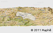 Shaded Relief Panoramic Map of Mendefera, satellite outside