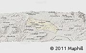 Shaded Relief Panoramic Map of Mendefera, semi-desaturated
