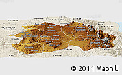 Physical Panoramic Map of Debub, shaded relief outside