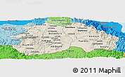 Shaded Relief Panoramic Map of Debub, political shades outside