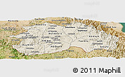 Shaded Relief Panoramic Map of Debub, satellite outside