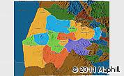 Political 3D Map of Gash-Barka, darken