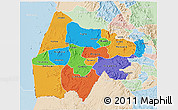 Political 3D Map of Gash-Barka, lighten