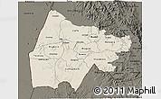 Shaded Relief 3D Map of Gash-Barka, darken