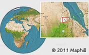 Satellite Location Map of Barentu, highlighted parent region