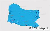 Political 3D Map of Dghe, single color outside