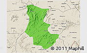 Political 3D Map of Gogne, shaded relief outside