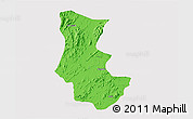 Political 3D Map of Gogne, single color outside