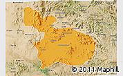 Political 3D Map of Mensura, satellite outside