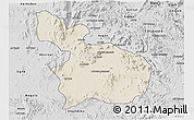 Shaded Relief 3D Map of Mensura, desaturated