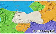 Shaded Relief 3D Map of Mogolo, political outside