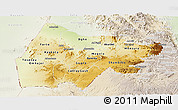 Physical Panoramic Map of Gash-Barka, lighten
